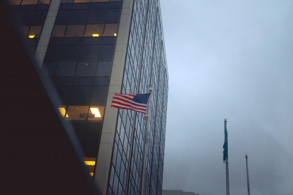 spiky car seattle window street city flag american usa sound designer